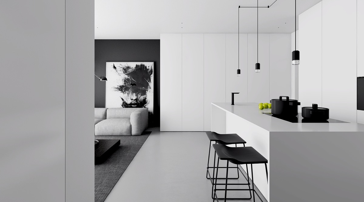 Monochromatic Living Space Stencil Drop Lights Grey Woollen Rug - 4 monochrome minimalist spaces creating black and white magic