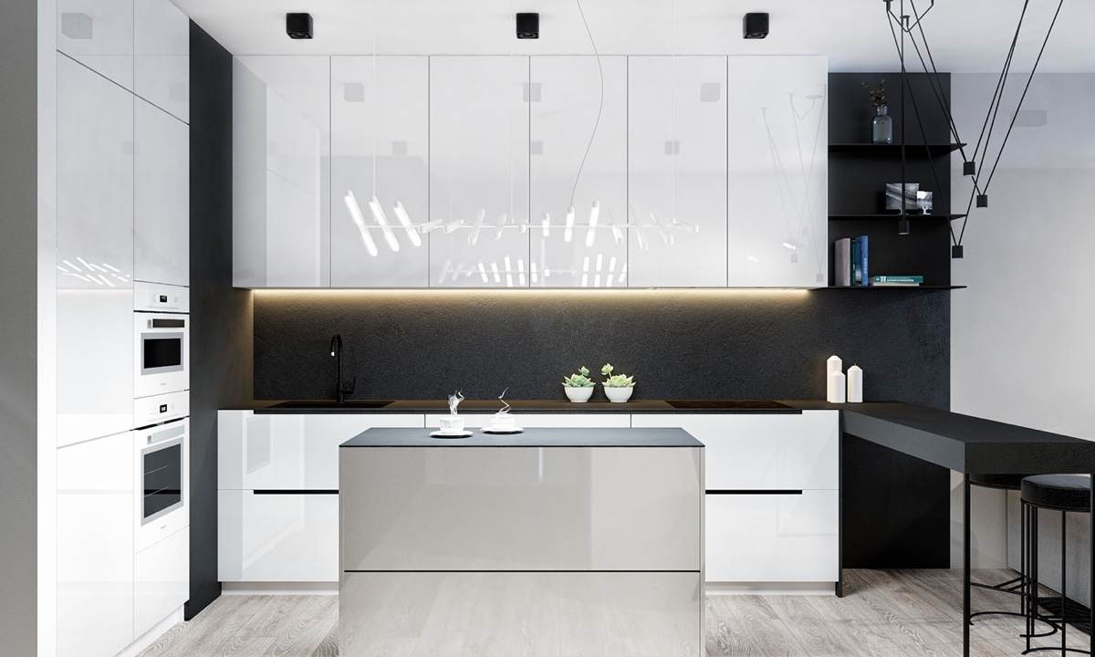 Monochrome Kitchen White Lacquered Cabinetry Central Taupe Pod - 4 monochrome minimalist spaces creating black and white magic