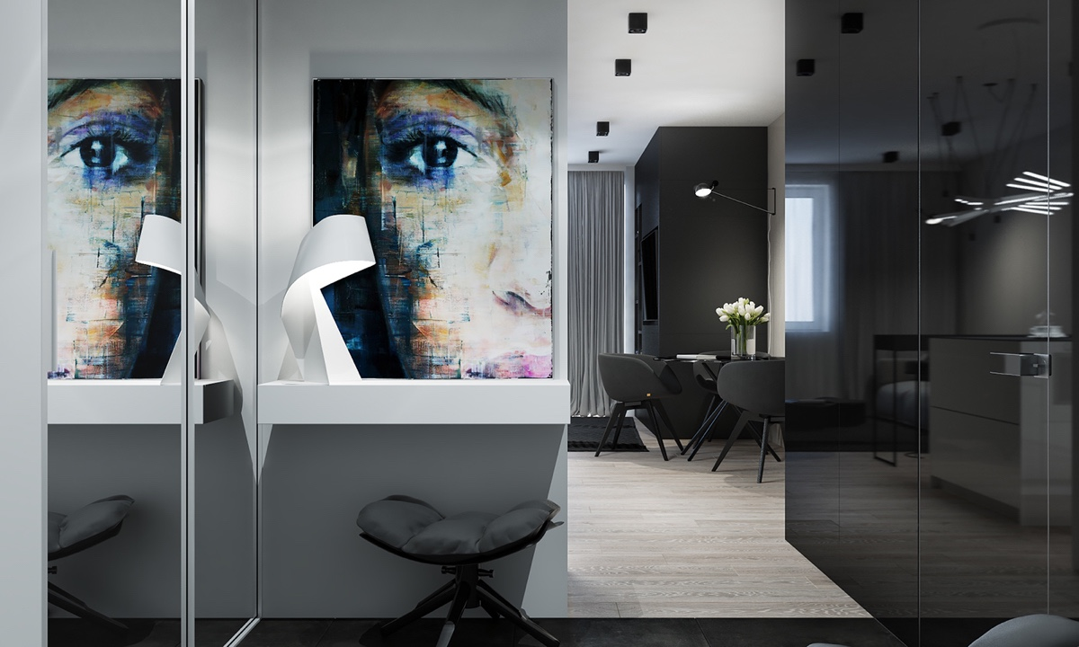 Multicoloured Wall Painting Grey Low Stool Monochromatic Hallway - 4 monochrome minimalist spaces creating black and white magic