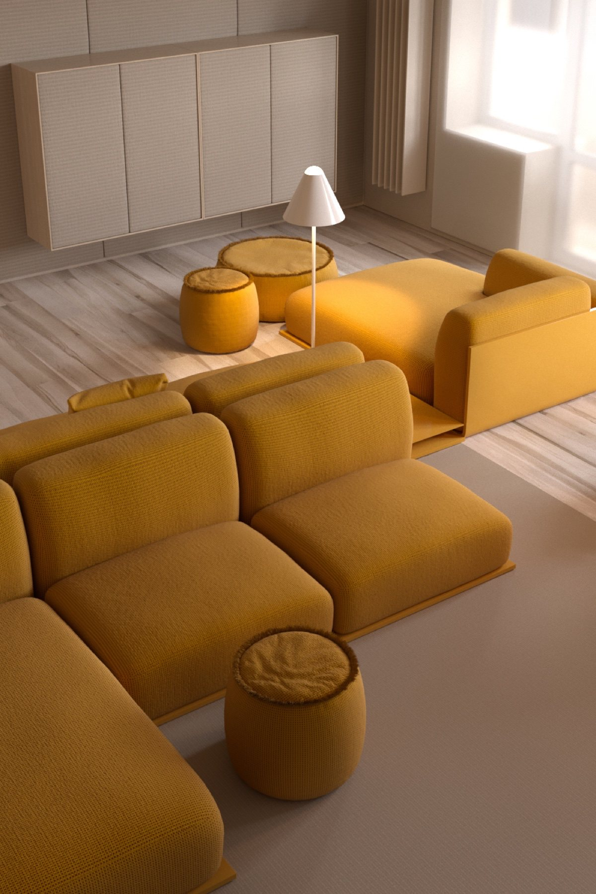 mustard living room sprawled out six seater clean 70's