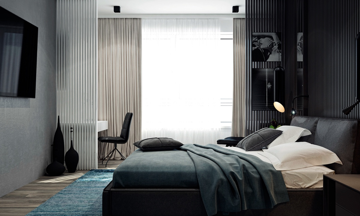 Muted Tones Bedroom Green Grey Rug White Slatted Partition Wall - 4 monochrome minimalist spaces creating black and white magic