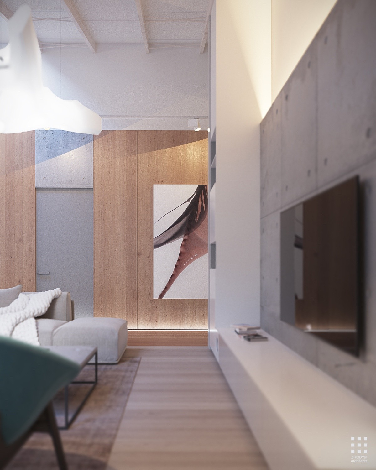 Natural Wood And Concrete Interior Design - An organic modern home with subtle industrial undertones