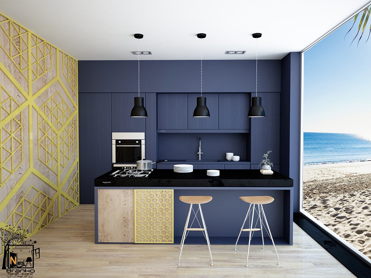 Navy Beach Themed Kitchern Navy Central Wall Black Bench - 36 stunning black kitchens that tempt you to go dark for your next remodel