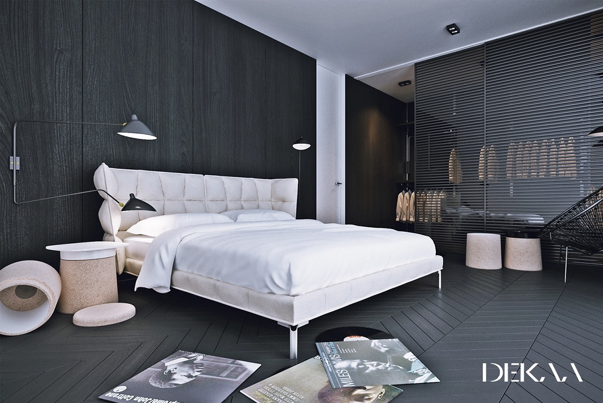 40 beautiful black white bedroom designs for Bedroom designs black and grey