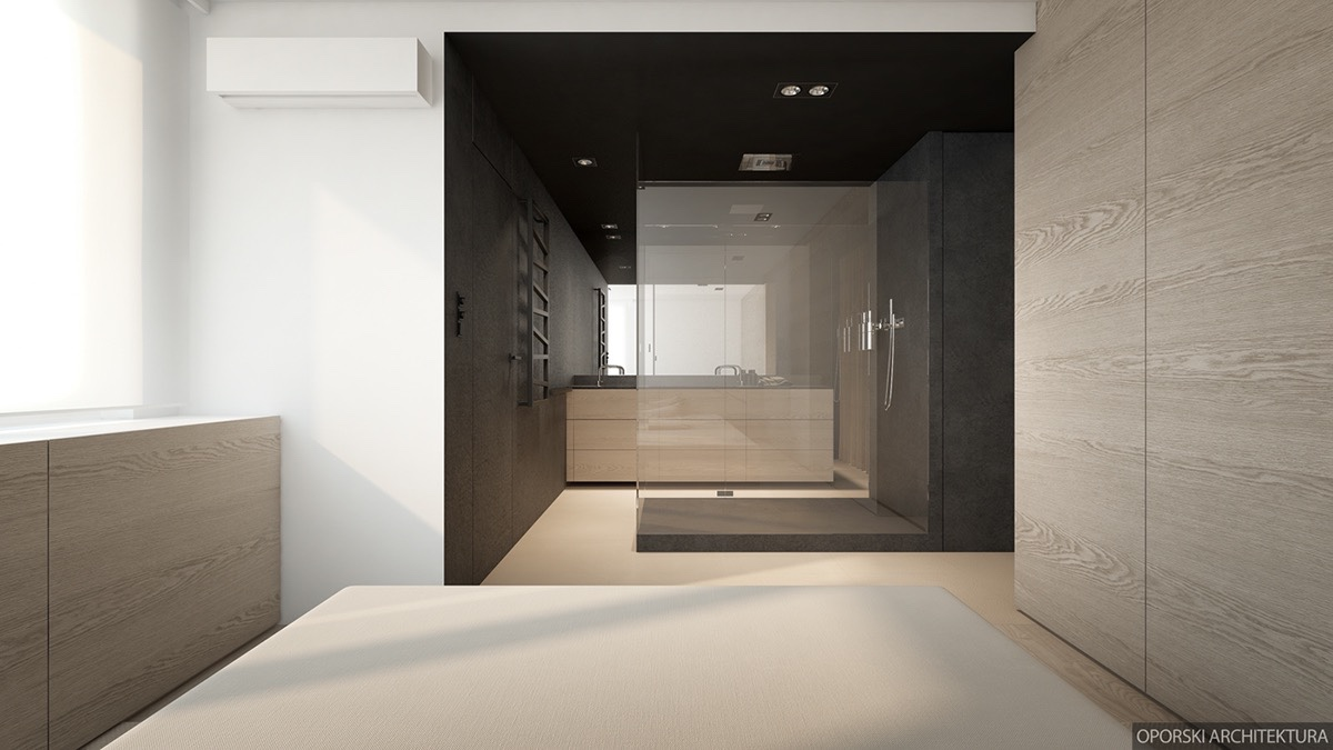 Open Concept Bedroom And Bathroom - 2 super simple homes with light wood panels and matte black accents