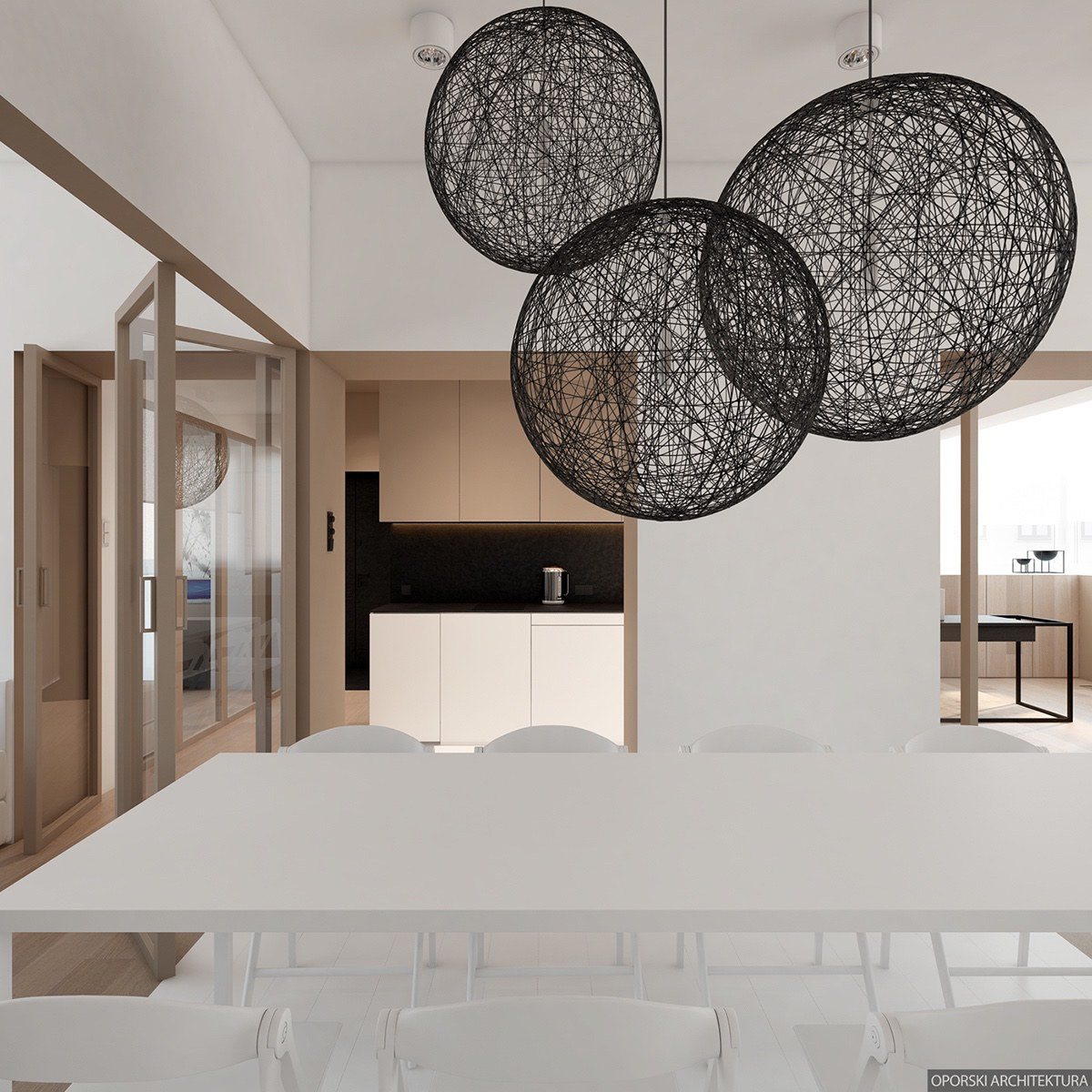 Oversized Pendants Over Dining Table Idea - 2 super simple homes with light wood panels and matte black accents