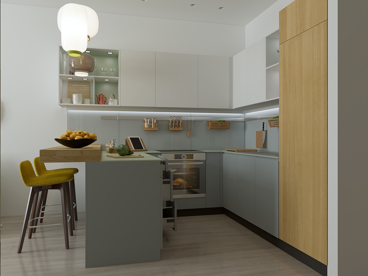 Pale Retro Kitchen Color Theme - Handsome small apartments with open concept layouts