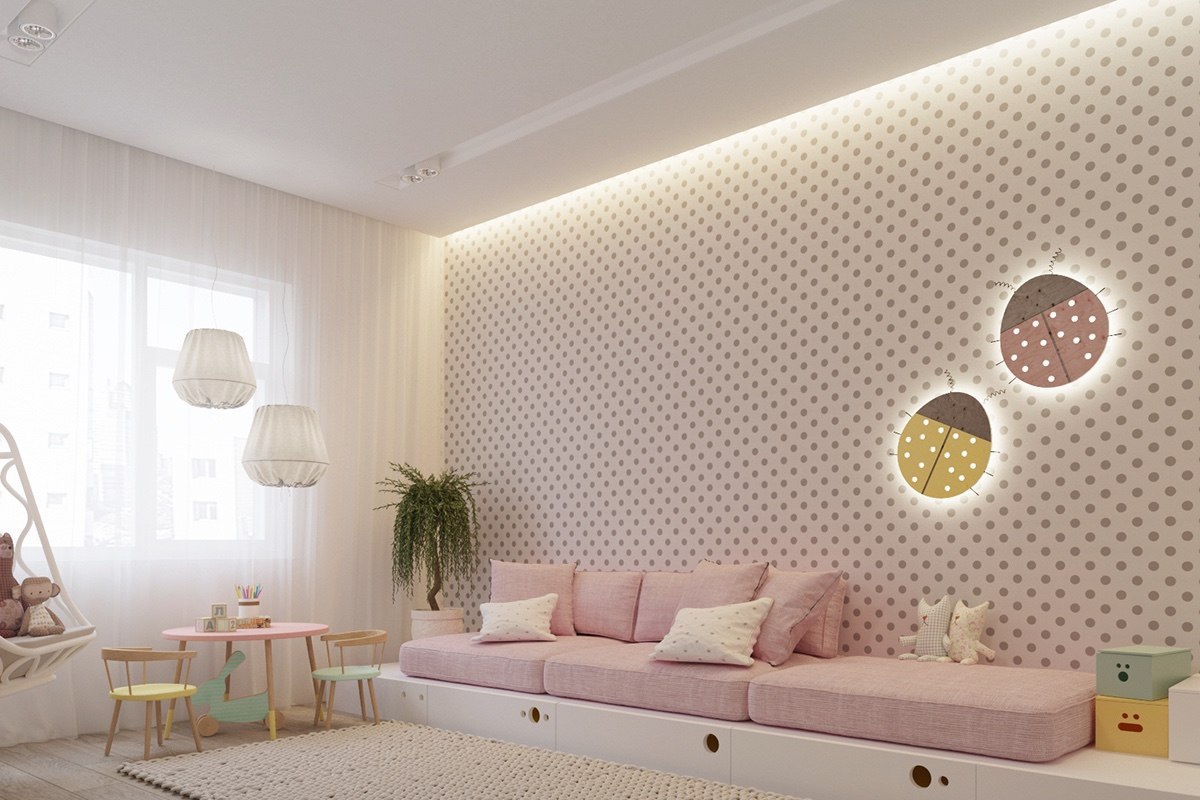 pastel nursery white and brown spotted feature wall baby pink settee
