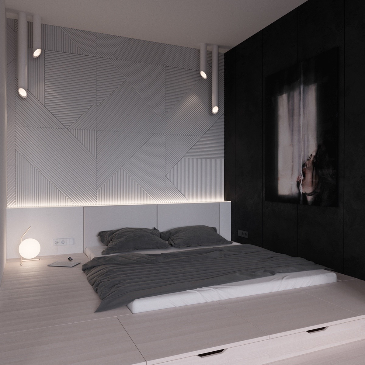 master bedroom Black & White Stunning Master Bedroom Designs platform bed black and white room ideas