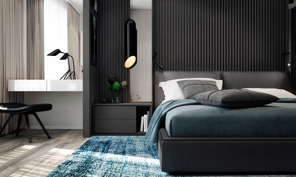 Pop Of Blue Bedroom Monochromatic Cylindrical Lights - 4 monochrome minimalist spaces creating black and white magic