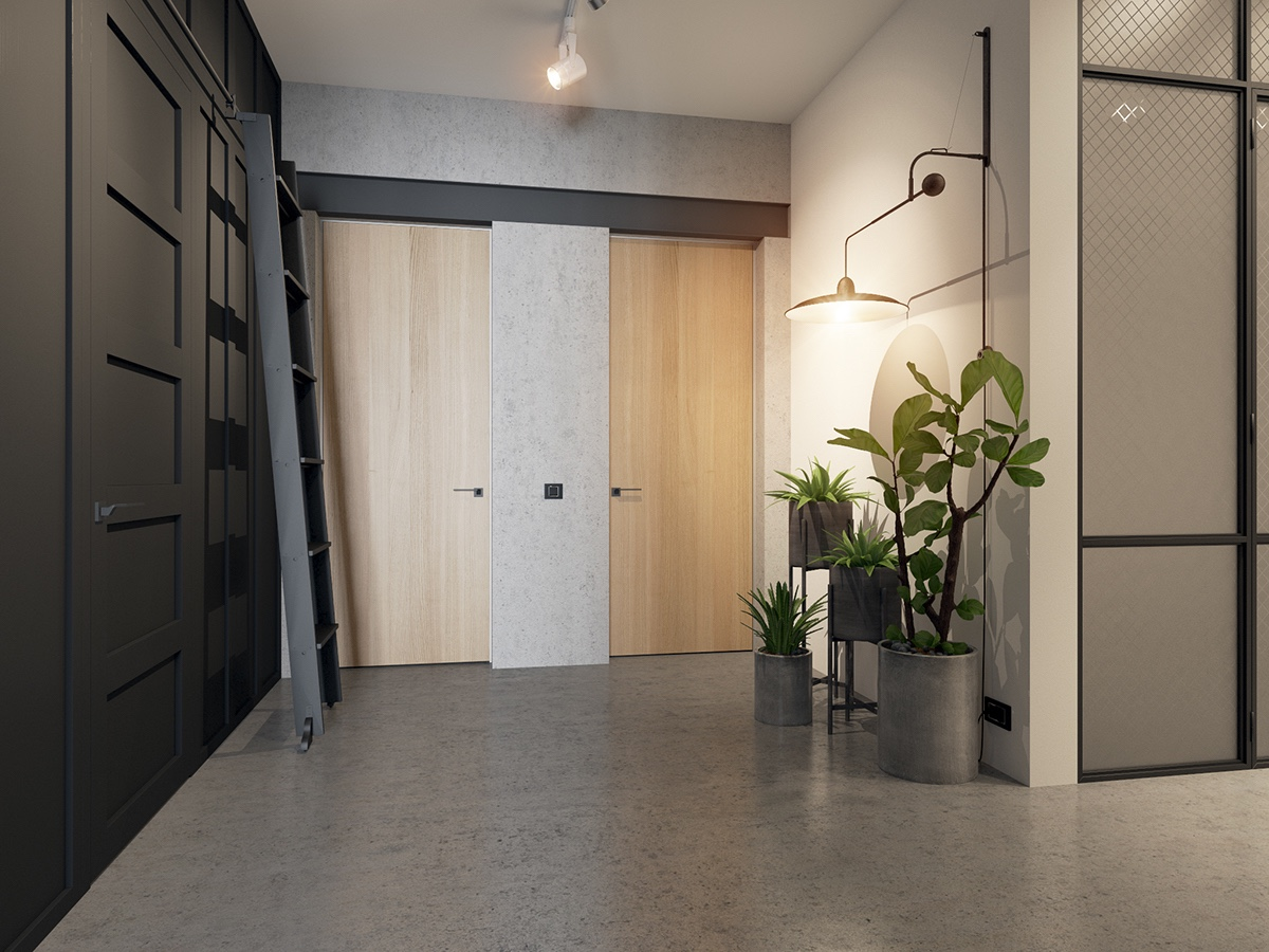 Potted Plants With Concrete Planters - Handsome small apartments with open concept layouts