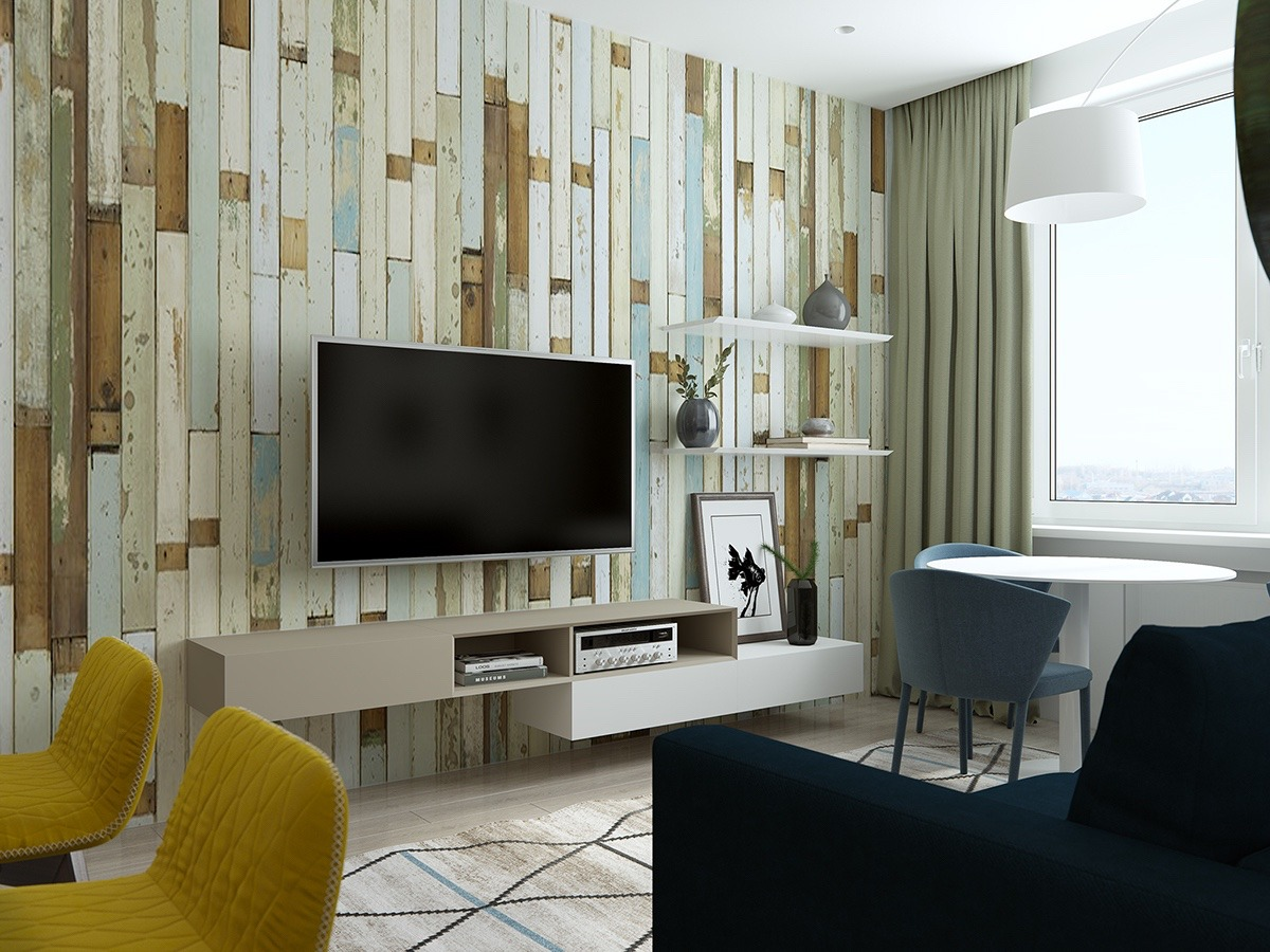 Reclaimed Wood Wall With Distressed Paint - Handsome small apartments with open concept layouts