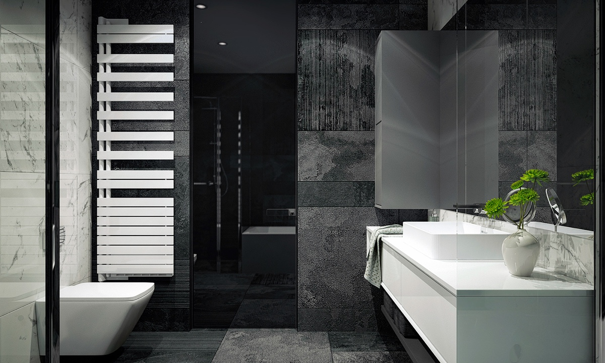 Shades Of Grey Bathroom Glass Shower Door White Heated Towel Rail - 4 monochrome minimalist spaces creating black and white magic