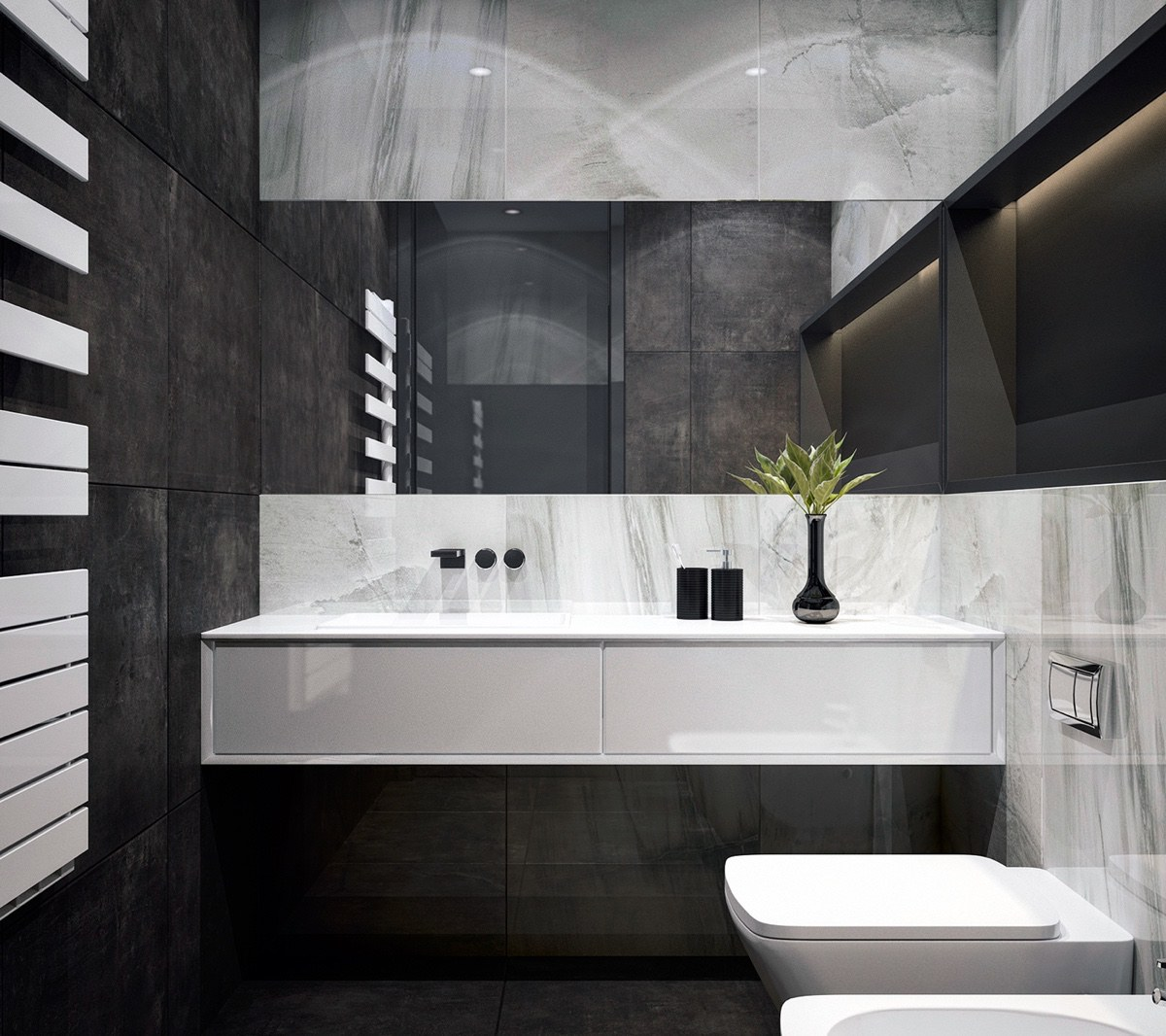 Shades Of Grey Bathroom Large Format Tiles Central Mirror Panel - 4 monochrome minimalist spaces creating black and white magic