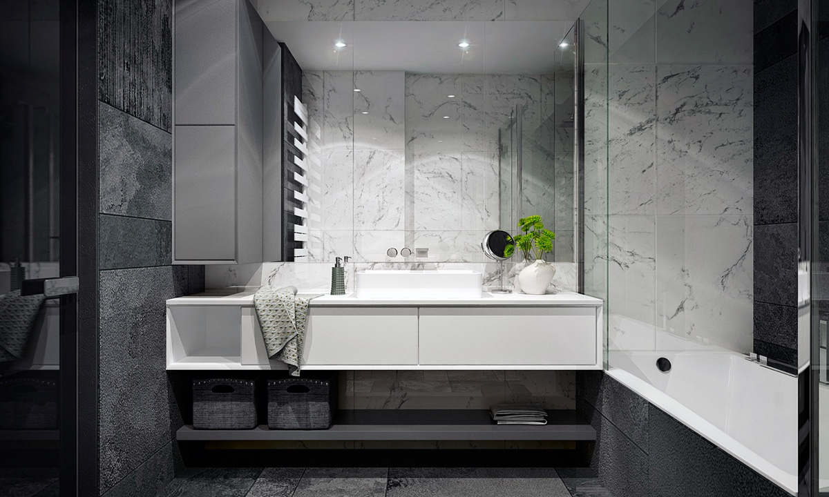Shades Of Grey Bathroom Marbled Wide Format Tiles Mirrored For Extra Space - 4 monochrome minimalist spaces creating black and white magic