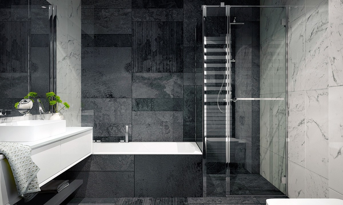 Shades Of Grey Bathroom Sprig Of Potted Plant Glass Shower - 4 monochrome minimalist spaces creating black and white magic