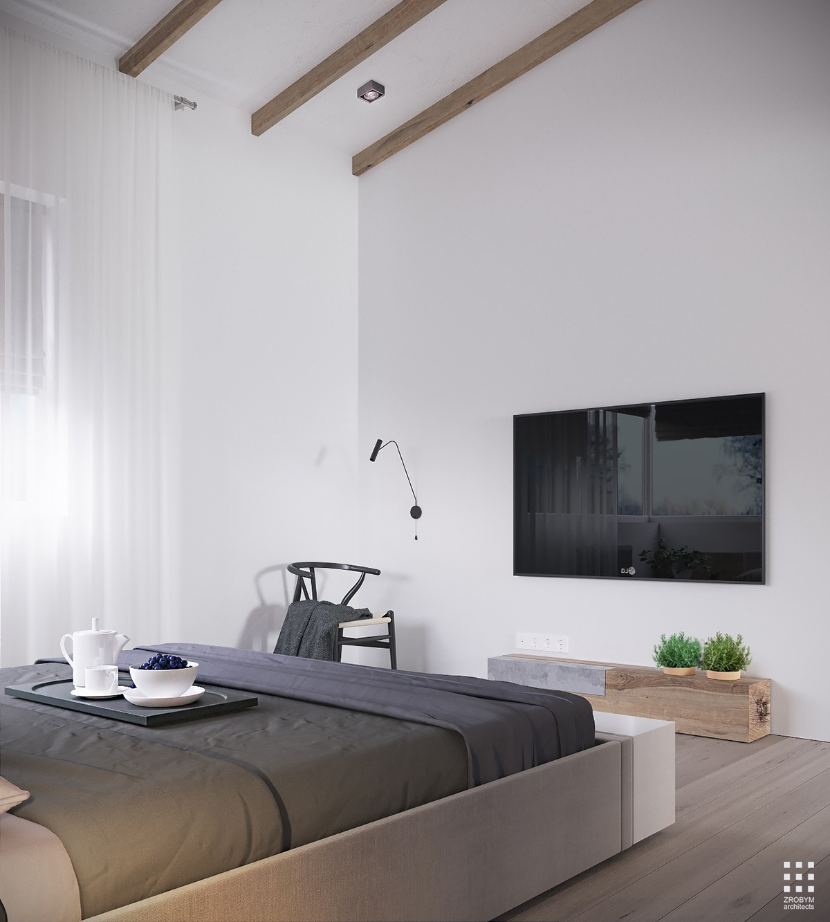 Simple Wood And Concrete Bedroom - An organic modern home with subtle industrial undertones