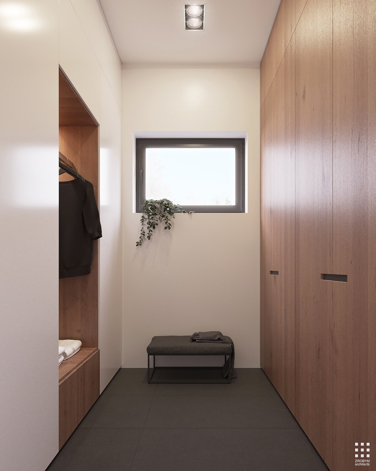 Simple Wood White And Grey Closet - An organic modern home with subtle industrial undertones