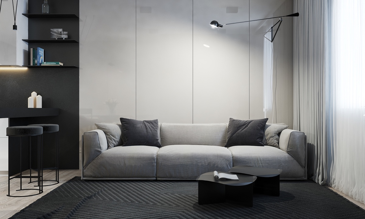 Soft Living Room Grey Couch Charcoal Cushions - 4 monochrome minimalist spaces creating black and white magic