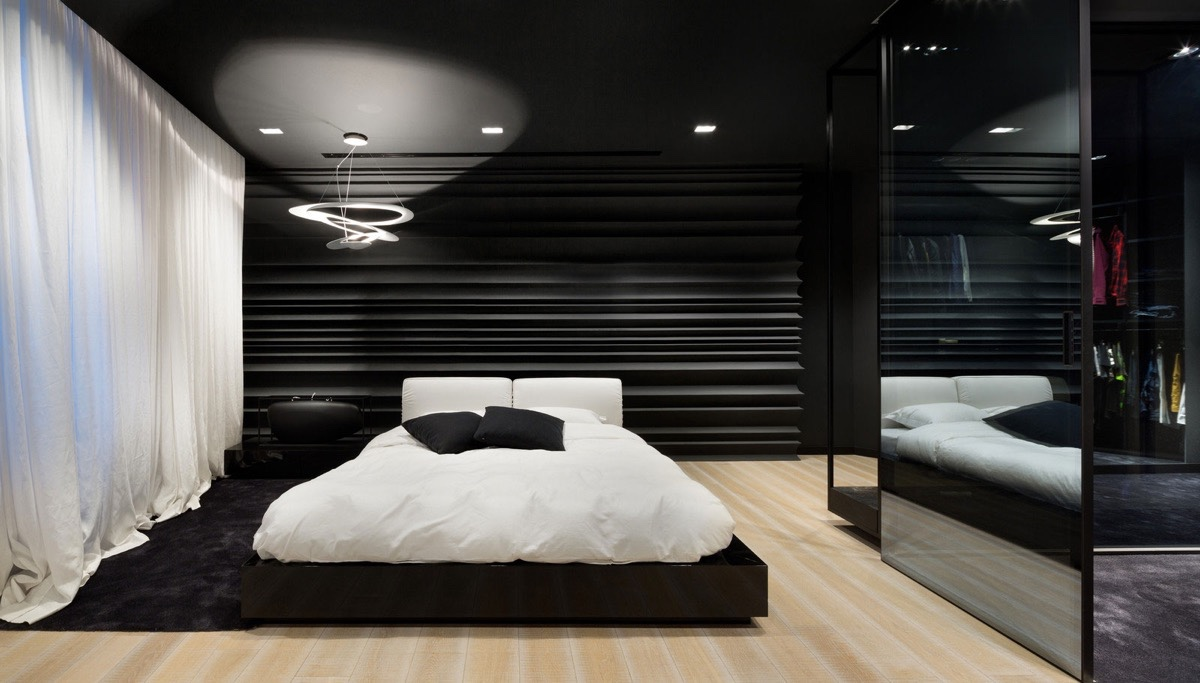40 beautiful black white bedroom designs for Black white taupe bedroom