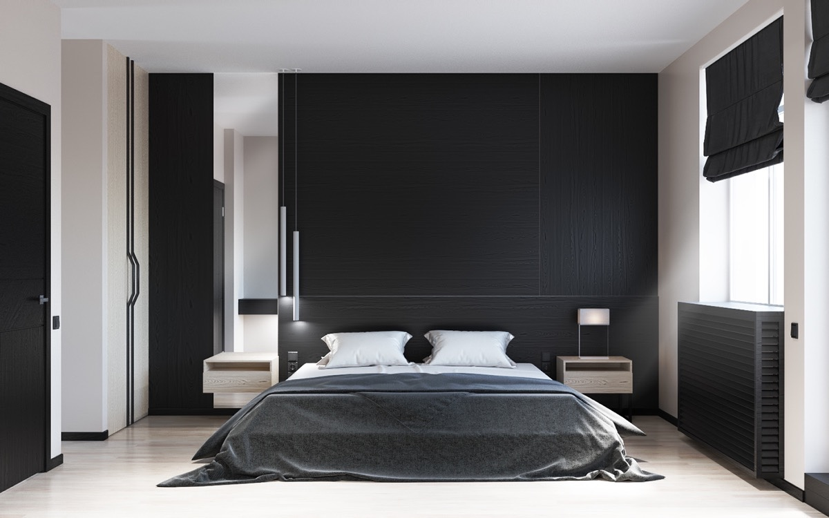 Black and white master bedroom shows the stretch of the for Black decorated rooms