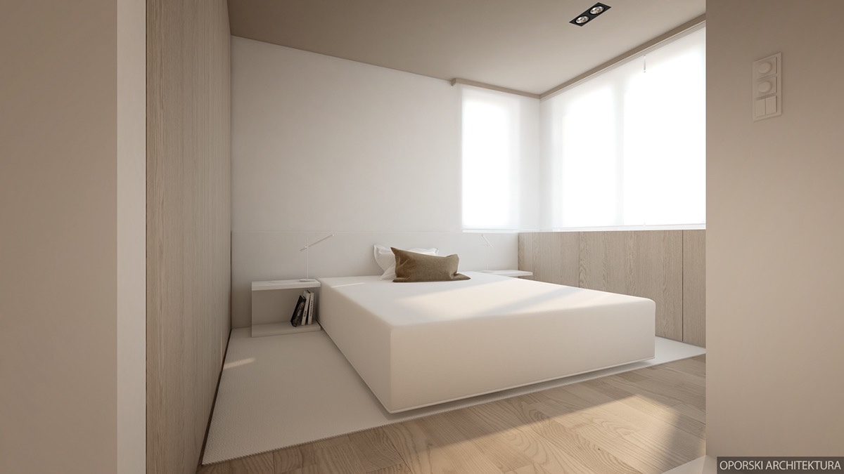 Super Minimalist White Bedroom - 2 super simple homes with light wood panels and matte black accents