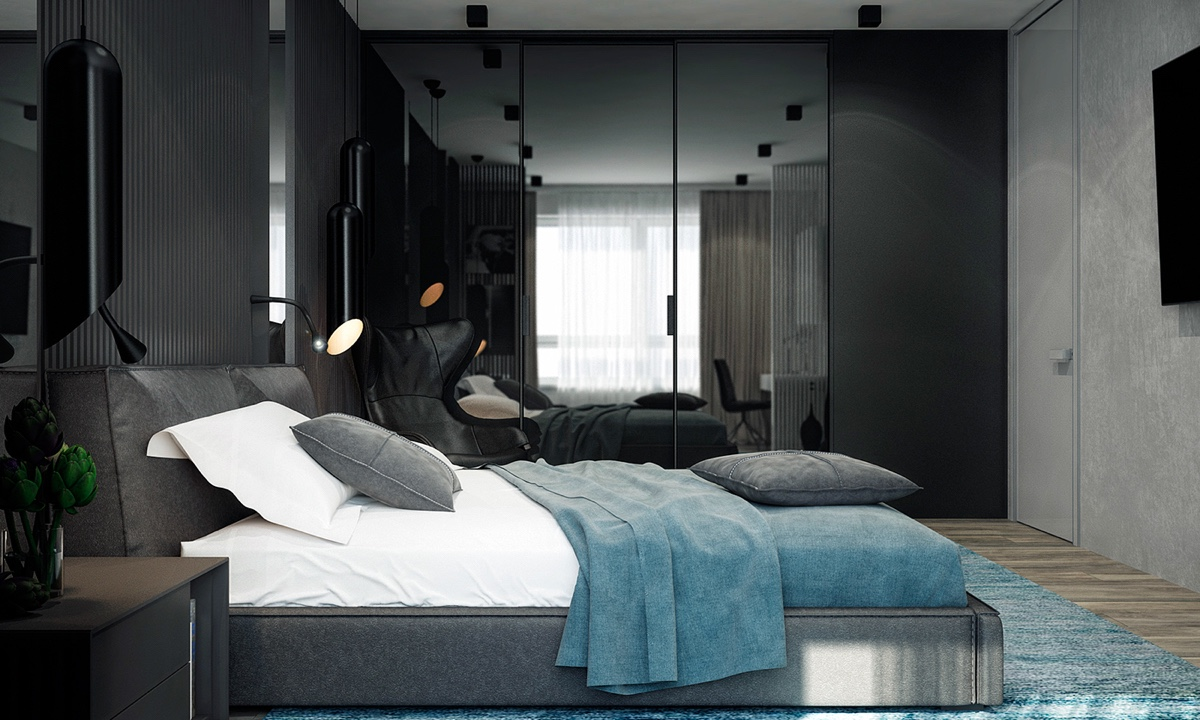 Turquoise Bedroom Wooden Flooring Black Lacquered Wardrobe - 4 monochrome minimalist spaces creating black and white magic
