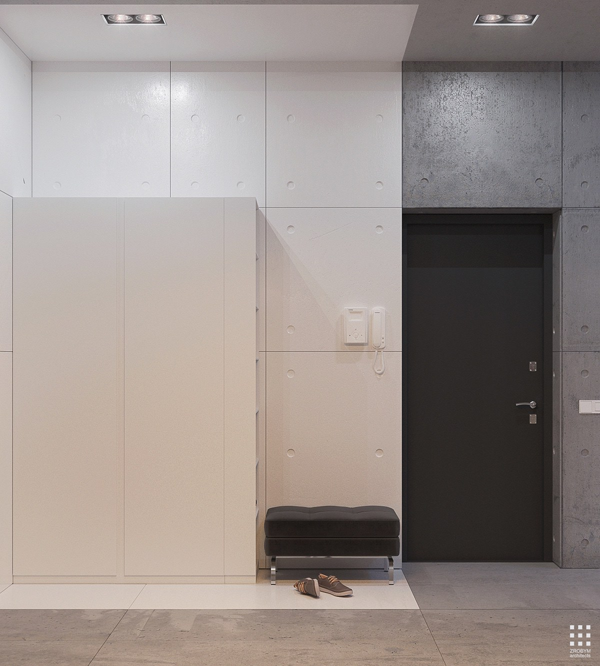 White And Concrete Entryway Design - An organic modern home with subtle industrial undertones