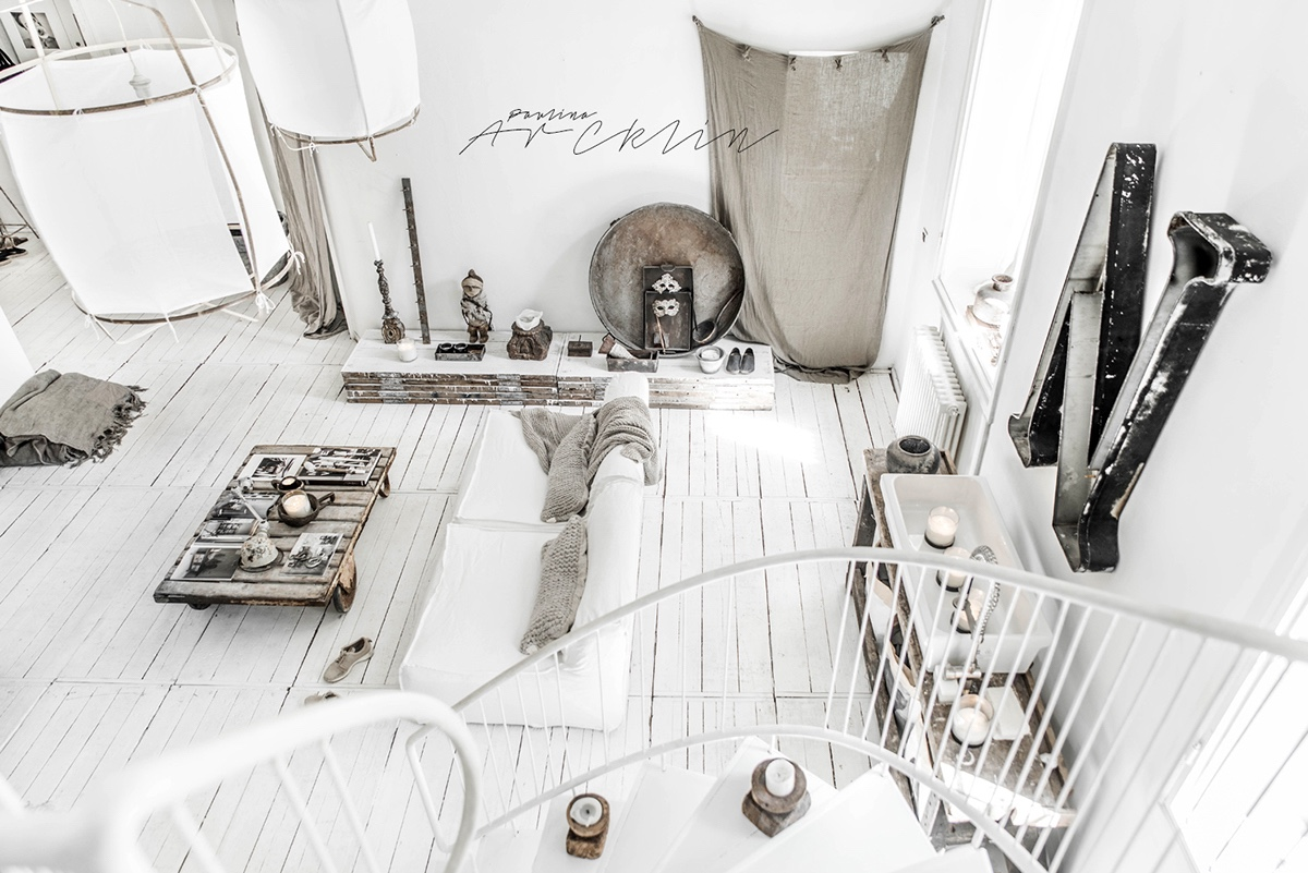 White And Grey Chic Interior Decor - Cottage chic meets industrial decor in this amazing milan apartment