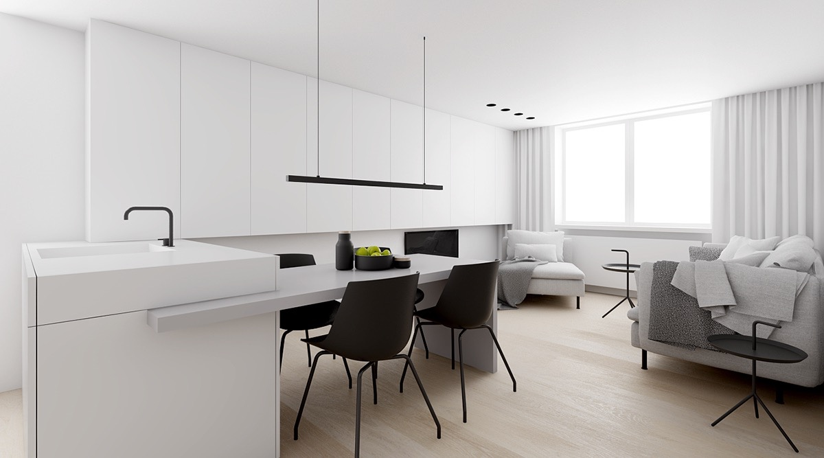 White Space With Pops Of Black Central Living Area - 4 monochrome minimalist spaces creating black and white magic