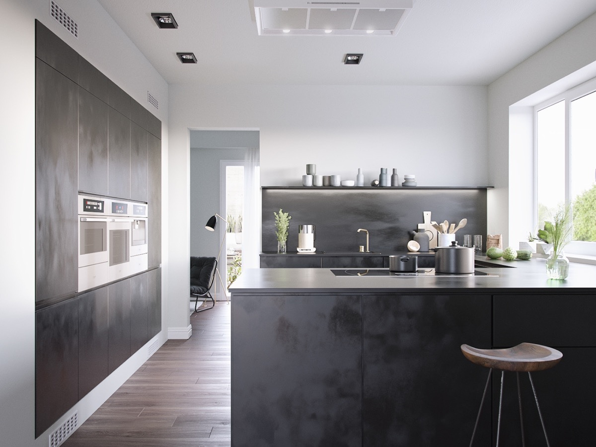 White Walls With Panels Of Matte Iron Dark Kitchens - 36 stunning black kitchens that tempt you to go dark for your next remodel