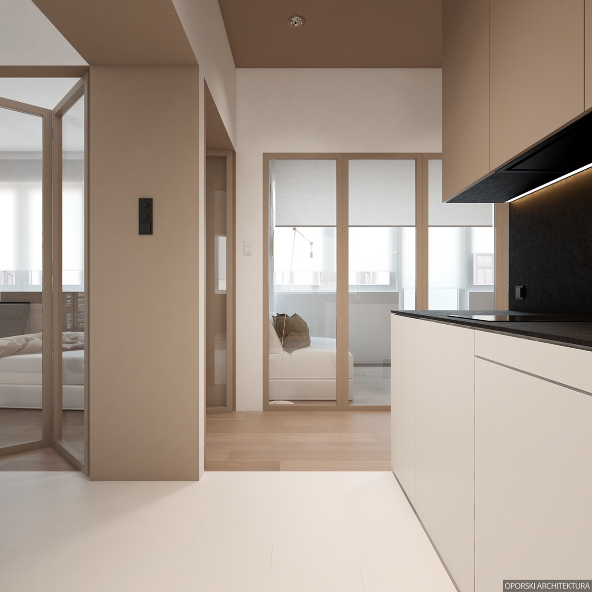 White Wood And Beige Interior - 2 super simple homes with light wood panels and matte black accents