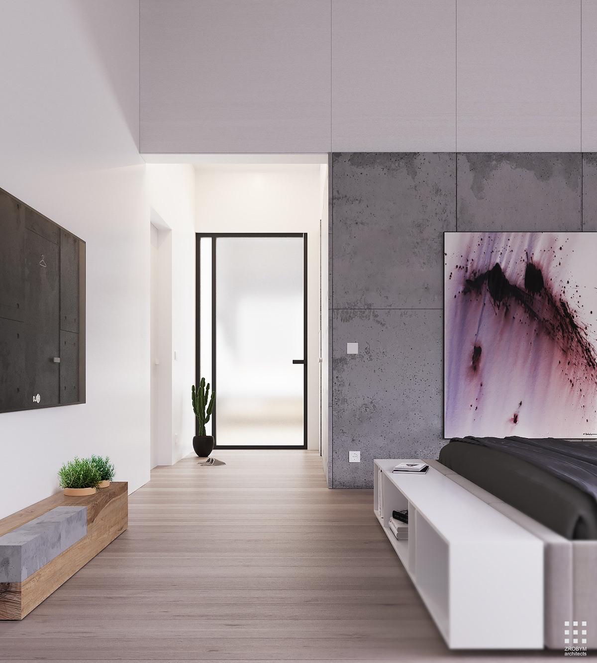Wood And Concrete Bedroom Design - An organic modern home with subtle industrial undertones