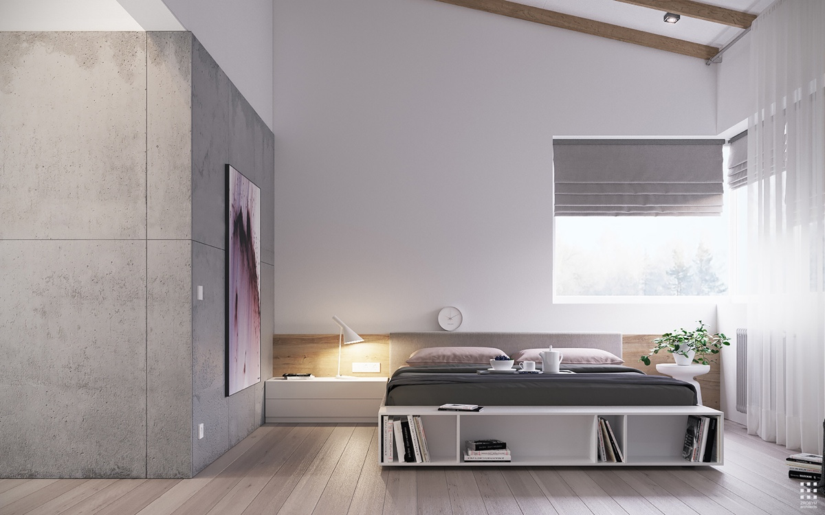 Wood And Concrete Bedroom Inspiration - An organic modern home with subtle industrial undertones