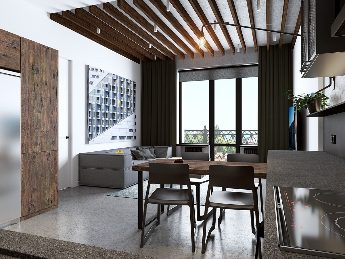 Wood And White Open Concept Apartment - Handsome small apartments with open concept layouts