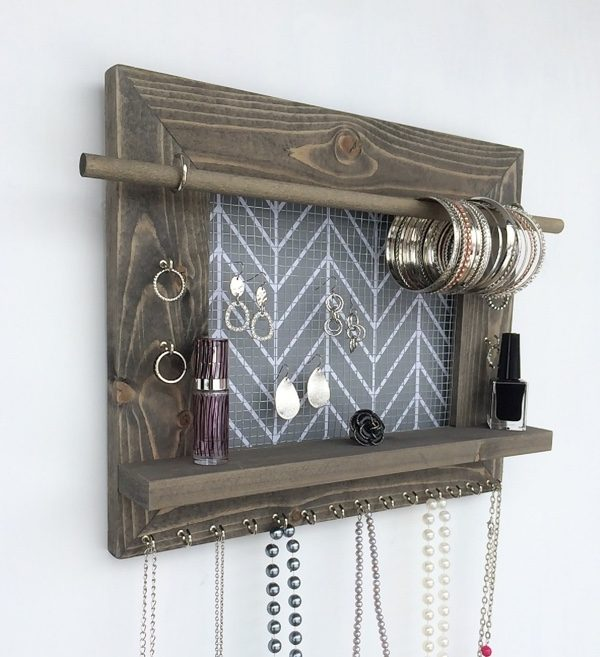 50 wooden wall decor art finds to help you add rustic for Room decor jewelry holder