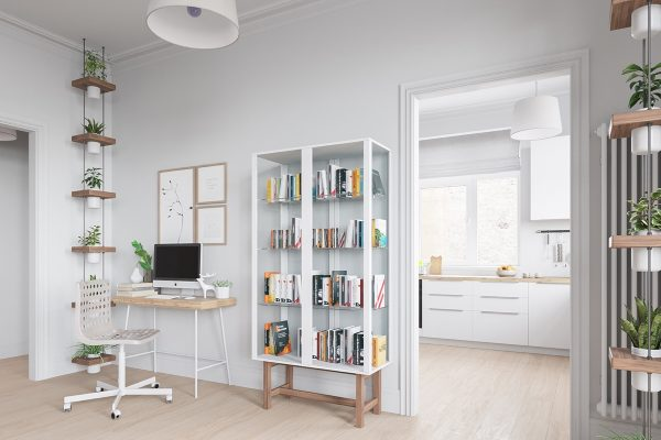 Scandinavian-library-white-and-wood-case