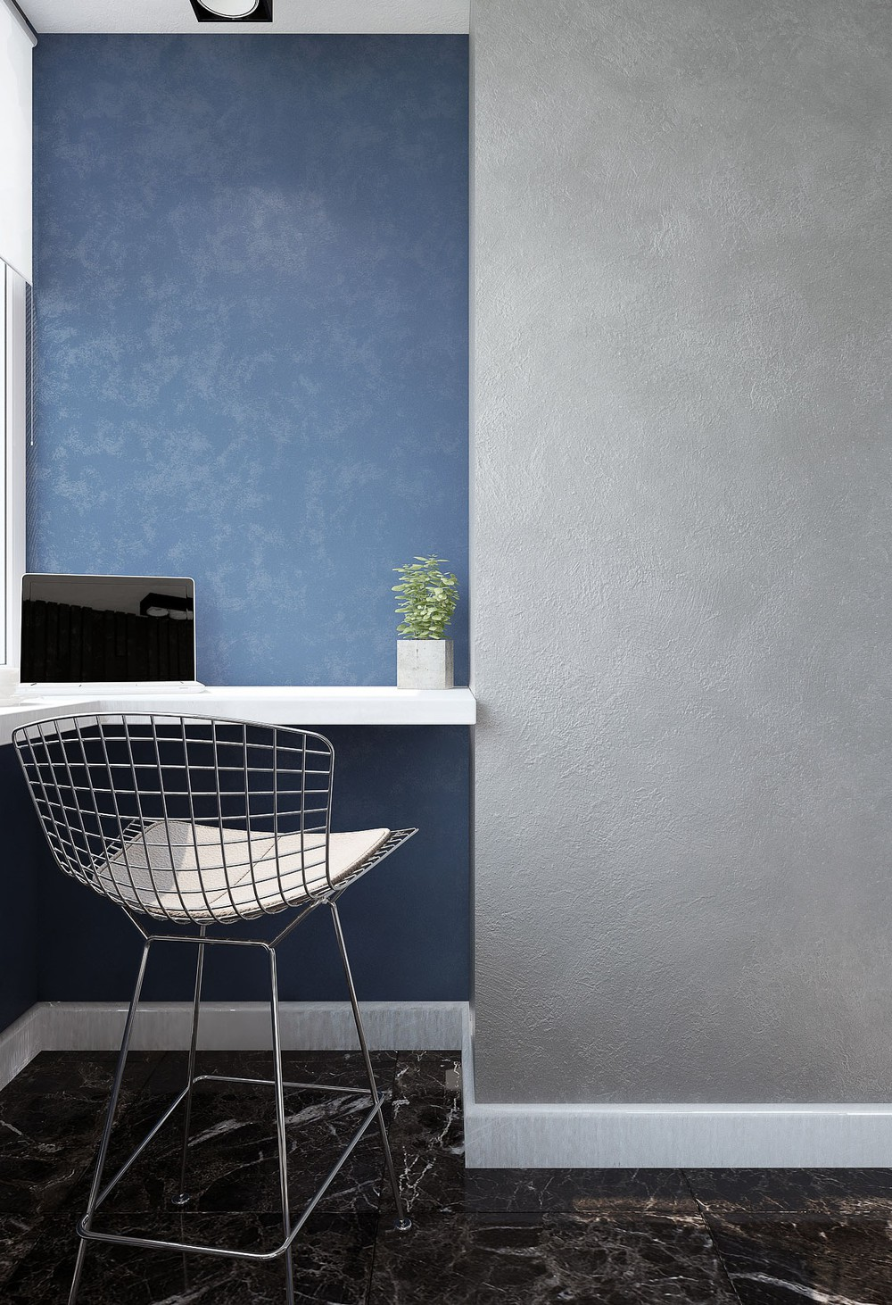 Alternating Feature Walls Innovative Office - 3 small studio apartments that exude luxurious space