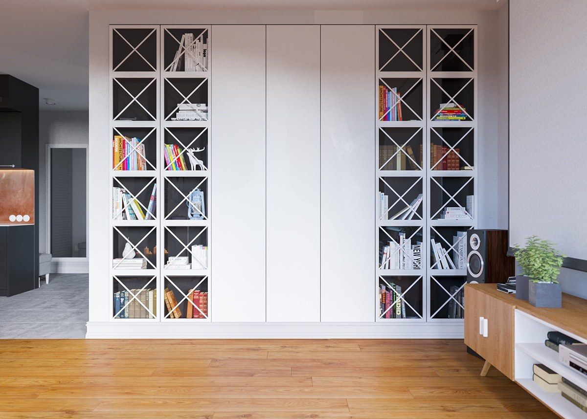 Awesome Bookshelf Inspiration - A beautiful one bedroom bachelor apartment under 100 square meters with floor plan