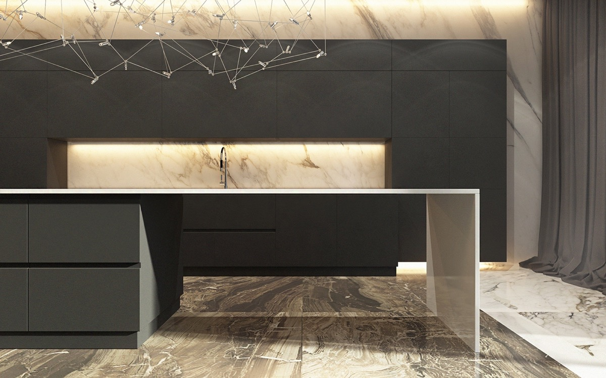 Black And Gold Marble Kitchen - 36 marvellous marble kitchens that spell luxury