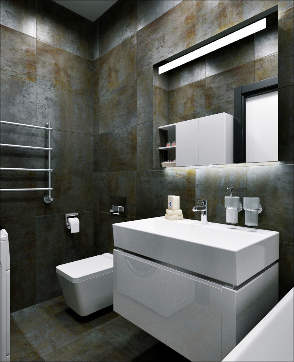 Black And Rust Bathroom Tiles - 3 small apartments that rock uncommon color schemes with floor plans