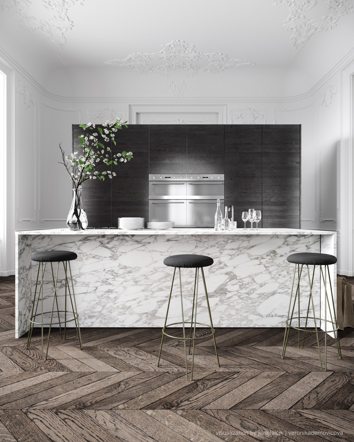 Black Fade Black Stools Marble Kitchen - 36 marvellous marble kitchens that spell luxury