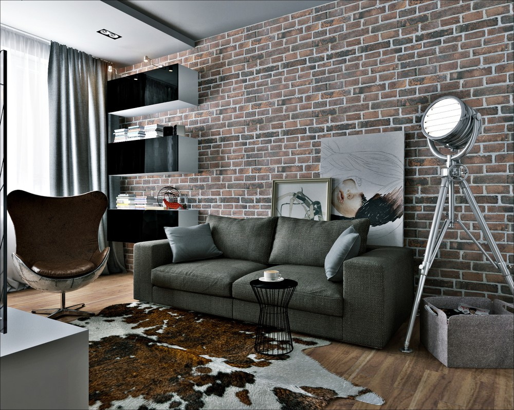 Black Grey And Brown Apartment Theme - 3 small apartments that rock uncommon color schemes with floor plans