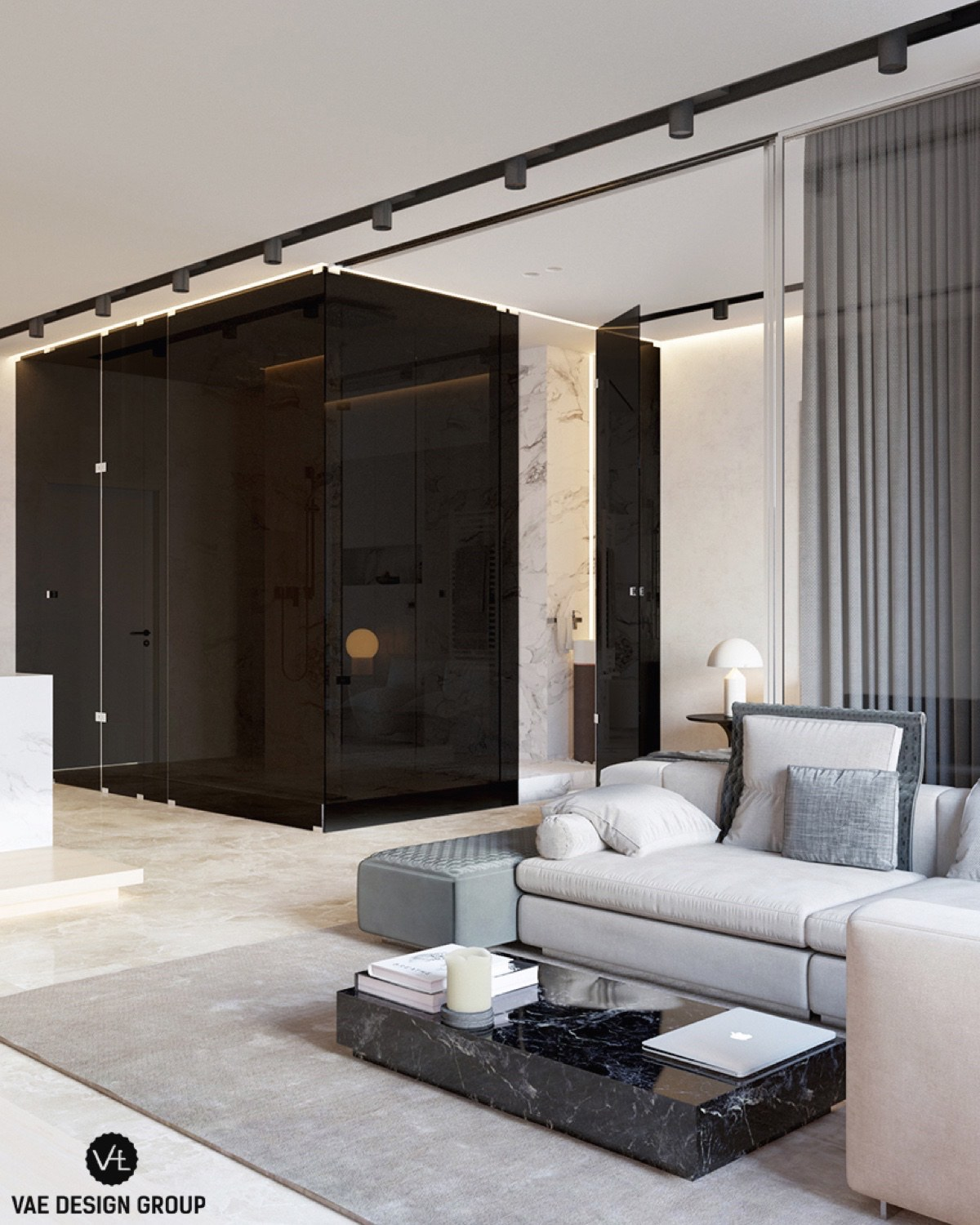 Black Lacquer Wall Marble Table Contemporary Lounge - 3 small studio apartments that exude luxurious space
