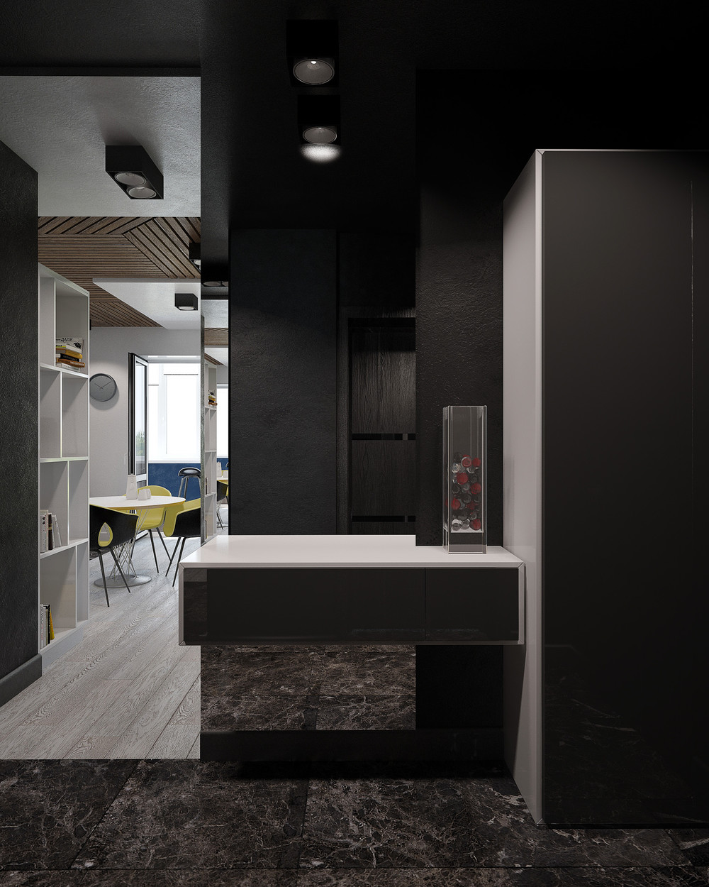 Black Marble Floors Ornate Entrance - 3 small studio apartments that exude luxurious space