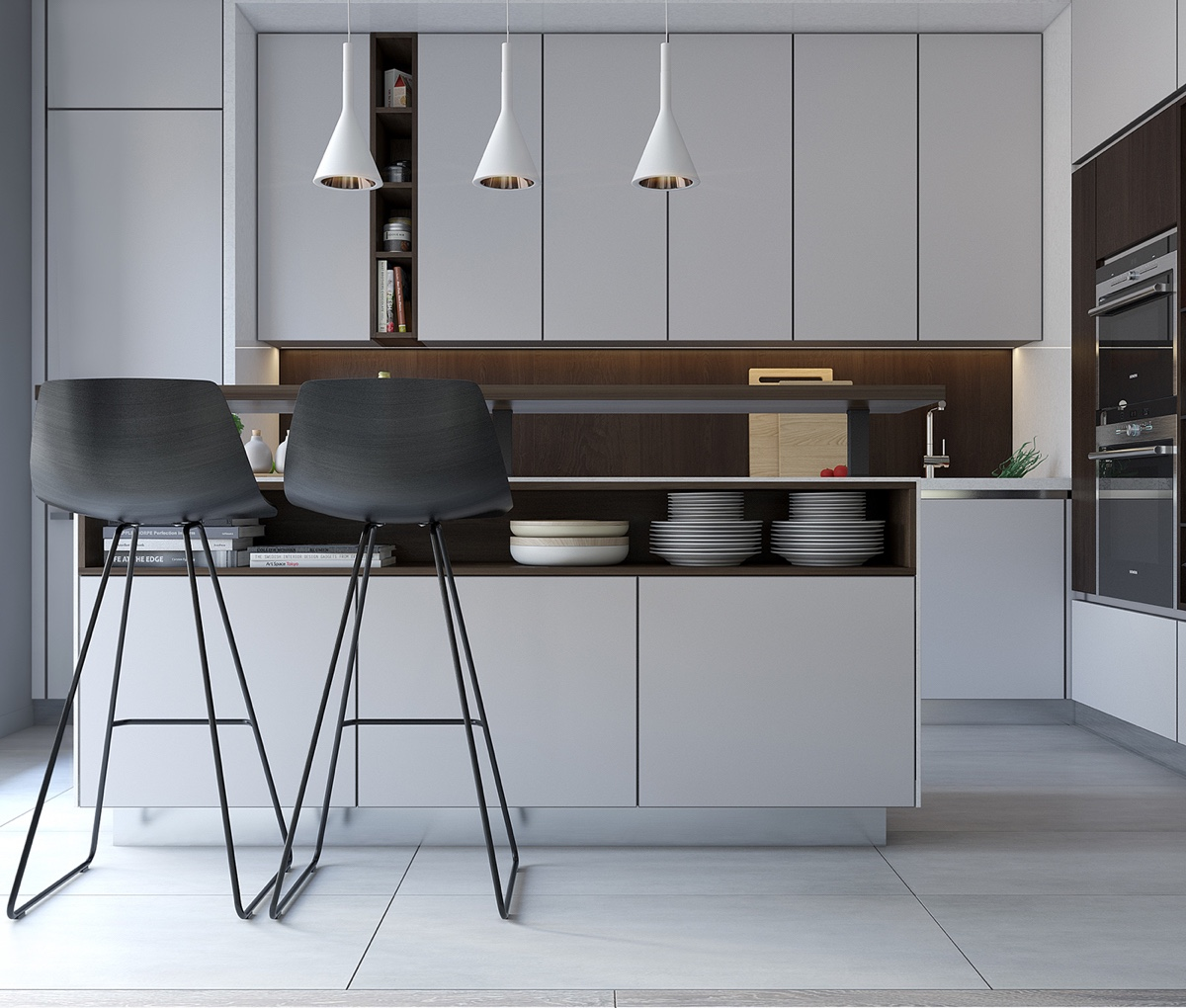 Black Pod Stools Contemporary Grey Kitchen - Spacious looking one bedroom apartment with dark wood accents
