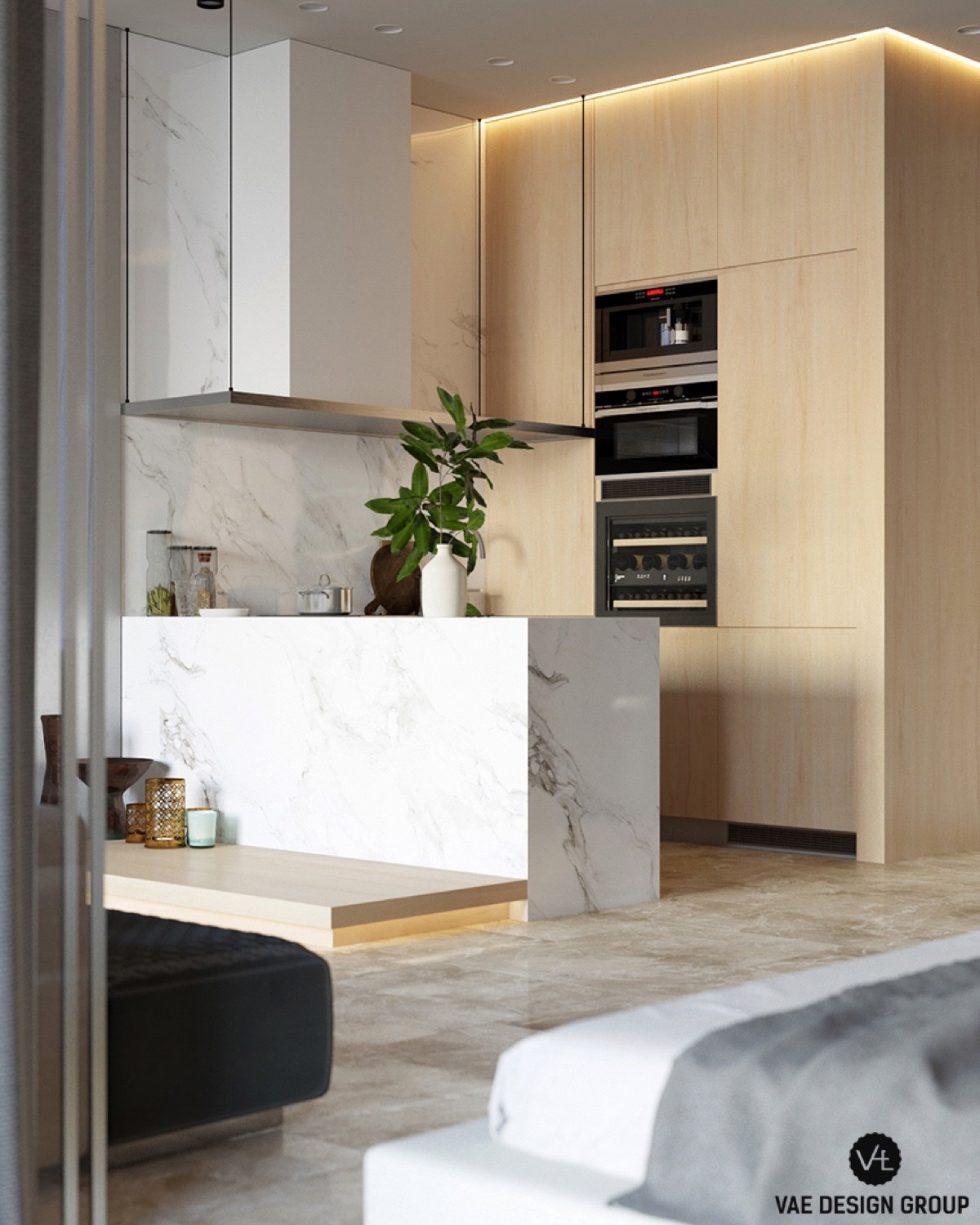 Black Stove Inlet Grey Marble Contemporary Kitchen - 3 small studio apartments that exude luxurious space