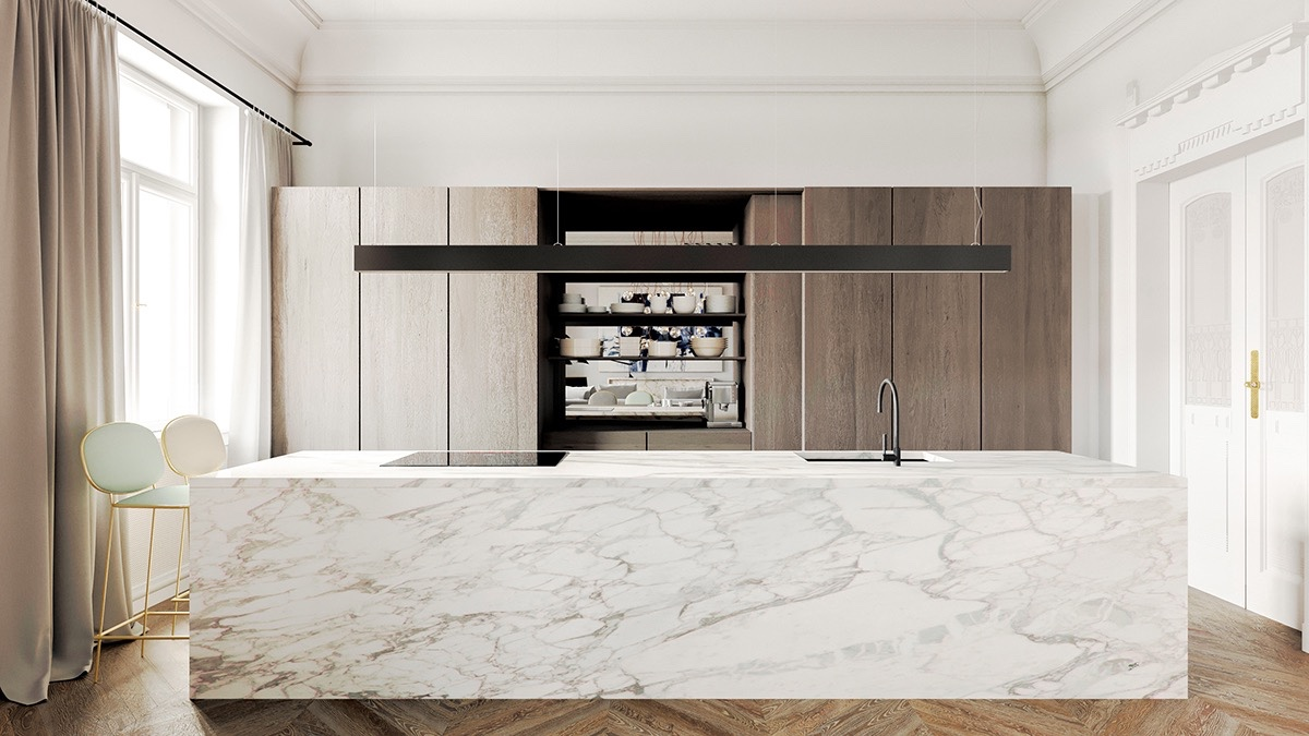 Block Bench Wooden Floor Marble Kitchen - 36 marvellous marble kitchens that spell luxury