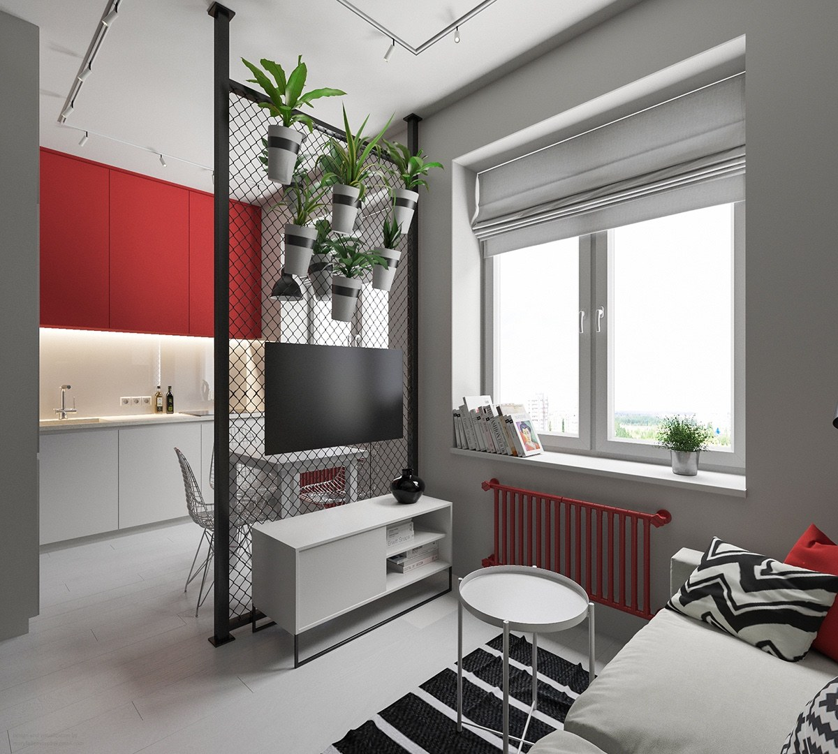 Chic Apartment With Industrial Accents - 3 small apartments that rock uncommon color schemes with floor plans
