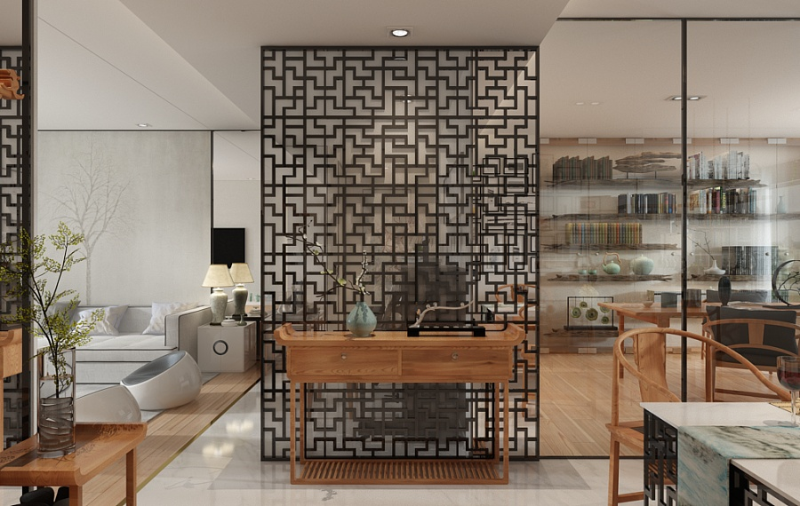 Chinese Latticework - A beautiful 2 bedroom modern chinese house with zen elements includes 3d floor plan